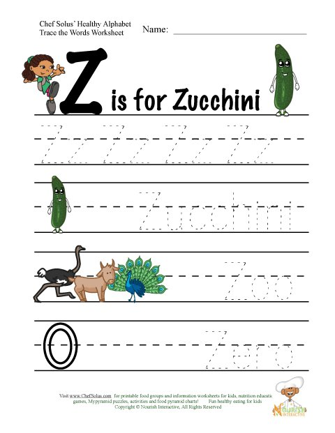 Fitness and Nutrition Alphabet Words Using Letter Z