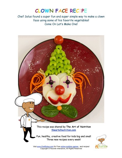 Food Art - Make a Clown Face with Vegetables Recipe Booklet