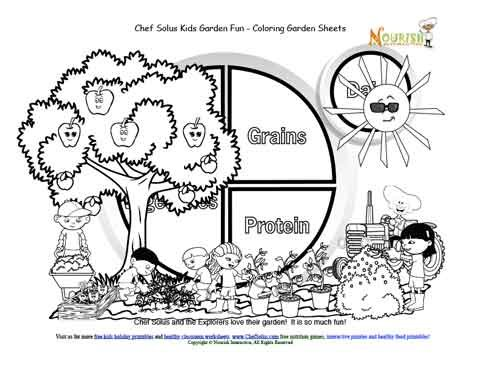 my food plate coloring page - my plate kids garden 7 garden fun