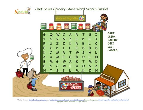 Chef Solus Grocery Store Word Search Puzzle For Young Readers