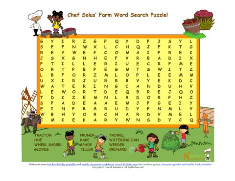 Chef Solus Farm Word Search Puzzle For Elementary School