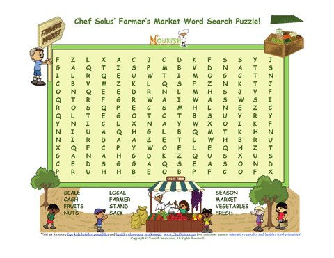 Chef Solus Farmers Market Word Search Puzzle For ...