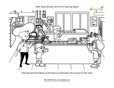 Grocery Store Fun Chef Solus At CheckOut Coloring Sheet