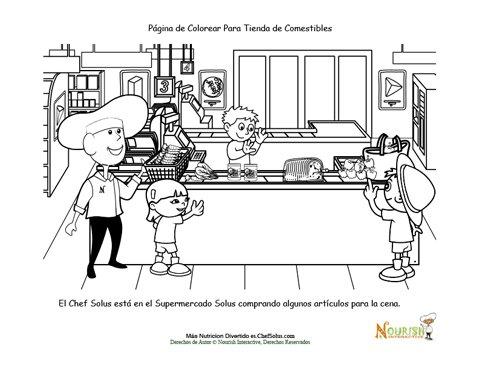 Diversión En La Tienda De Comestibles – Hoja Para Colorear Del Chef ...