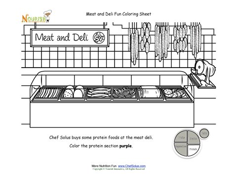 My Plate Protein Food Group Meat and Deli Grocery Store Coloring
