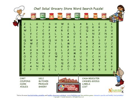 Chef Solus Grocery Store Word Search Puzzle For Elementary