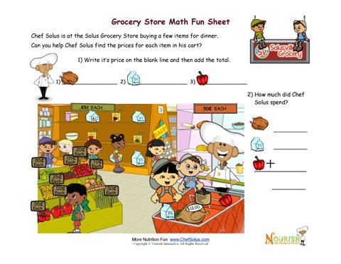 Math Worksheets supermarket math worksheets : Grocery Store Math Worksheet for Kids