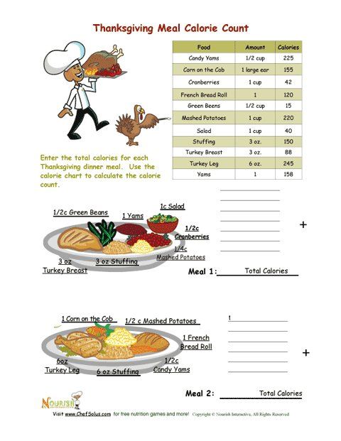 Worksheets Calorie Worksheet holidays 11 thanksgiving meal calorie count activity