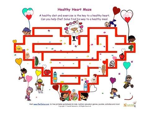 Healthy Heart Maze Fun For Kids