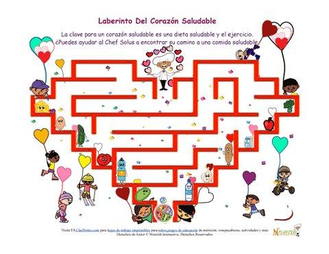 Divertido Laberinto Para Niños De Un Corazón Saludable