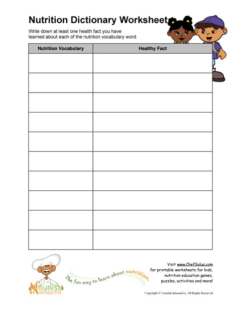 Printable - Nutrition Vocabulary Word and Healthy Facts Worksheet