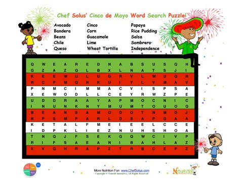 Holiday 6 Cinco De Mayo Word Search Puzzle For Elementary School Children