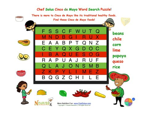 holiday 6 cinco de mayo easy mexican foods word search for kids - Picture Search For Kids