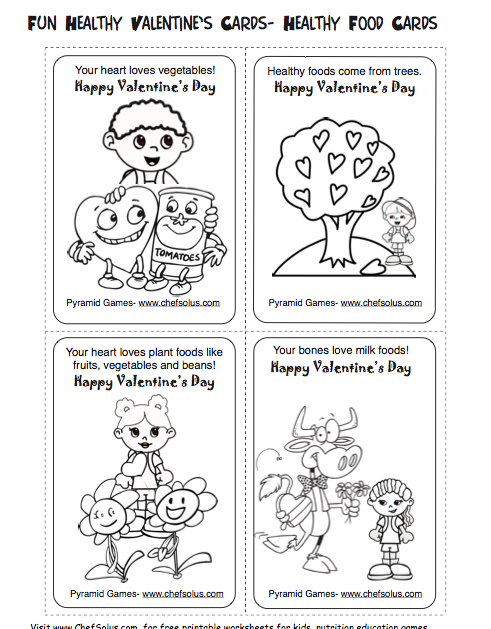 Healthy Valentines Day Activities for Kids Printable Cards