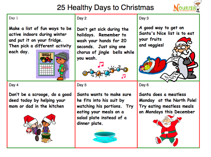 Tip A Day' Christmas Countdown for Kids- Eating Healthy Food & Being ...