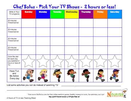 Print Screen Time Tv Tracker Chart For Kids Pdf