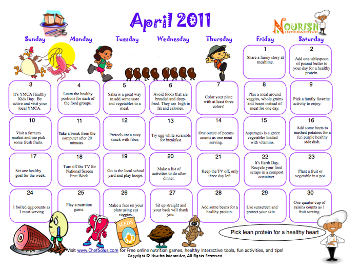 Healthy Tips Calendar April