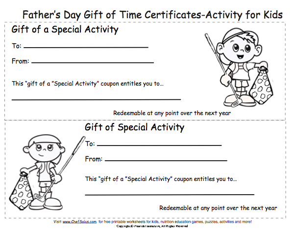 Free Fathers Day Cards And Low Cost Gifts Kids Can Give Dad