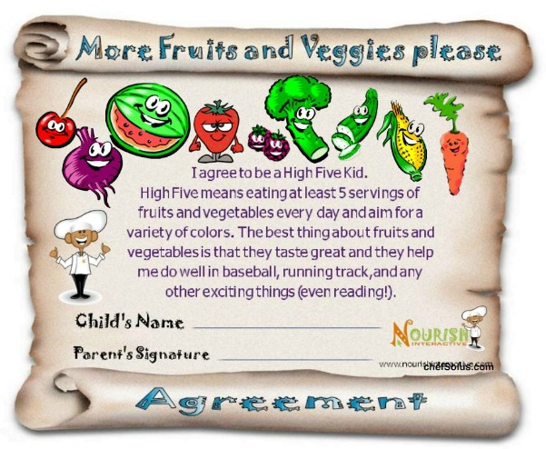 Kids Eating More Fruits Vegetables Agreement