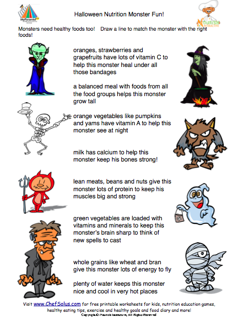 monster match up healthy food puzzle - Halloween Safety Worksheets