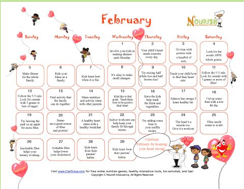 february healthy tips calendar for kids families printable