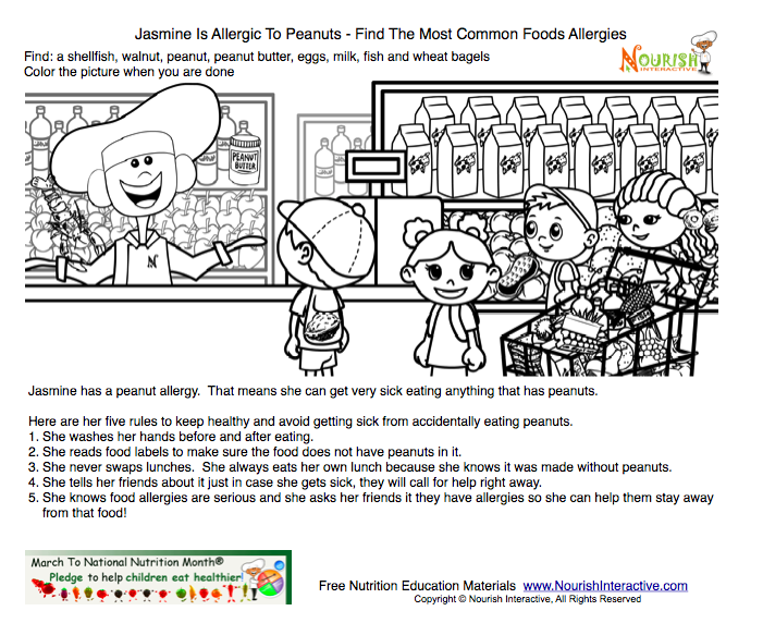 Kids Food Allergy Activity And Coloring Page Free Printable