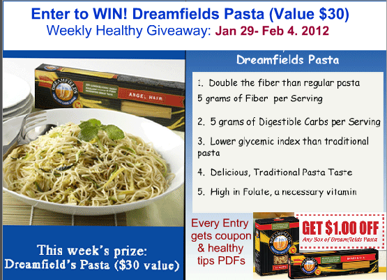 fiber goal and enter to win giveaway for pasta