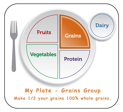 types of whole grain and refined grains from the grain food group